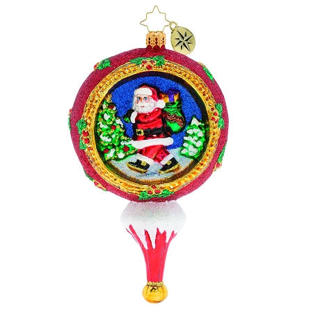 RADKO 1019989  - PICTURESQUE SANTA - SANTA IN PAINTED SCENE IN BALL ORNAMENT - NEW 2019 (68-3)