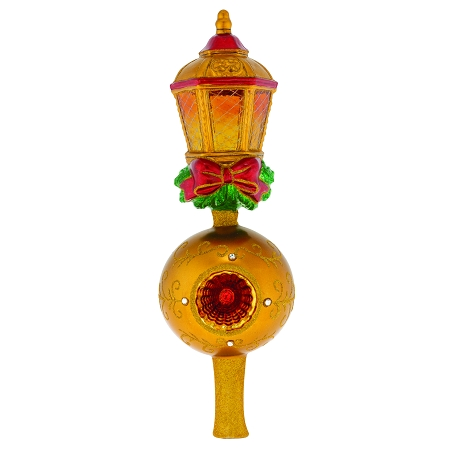 RADKO 1019991 GOLDEN LANTERN FINIAL - GOLD LANTERN ON BALL WITH REFLECTOR JEWELED FINIAL - TREE TOPPER - NEW 2019 (F10)
