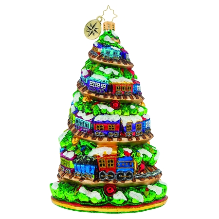 RADKO 1020000 TERRIFIC TRAIN TRACK TREE - CHRISTMAS TREE WITH TRAIN ON TRACK FROM BOTTOM TO TOP ORNAMENT - NEW 2020 (20-1)