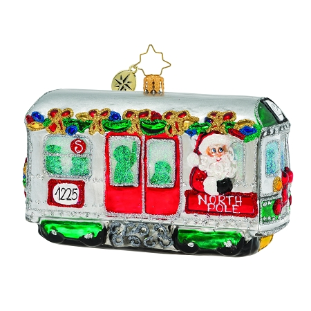 RADKO 1020003  - SPEEDING THROUGH THE CITY - TROLLEY - SANTA DRIVING CABLE CAR ORNAMENT - NEW 2019 (68-3)
