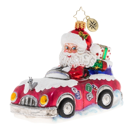 RADKO 1020120 A CROSS COUNTRY CHRISTMAS - SANTA IN RED CONVERTIBLE WITH GIFTS ORNAMENT - NEW 2020 (20-1)