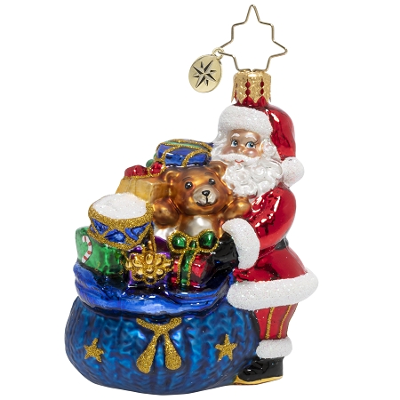 RADKO 1020132 SANTA'S CHRISTMAS SURPRISE GEM - SANTA WITH BLUE BAG OF GIFTS AND TOYS ORNAMENT - NEW 2020 (28-1)