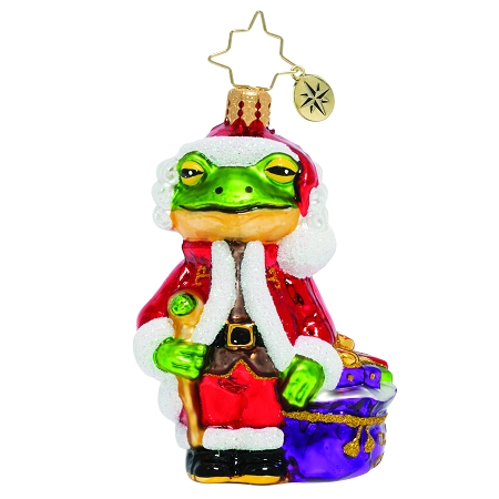 RADKO 1020135 FROGGY SANTA GEM - FROG IN SANTA SUIT WITH BAG ORNAMENT - NEW 2020 (28-1)