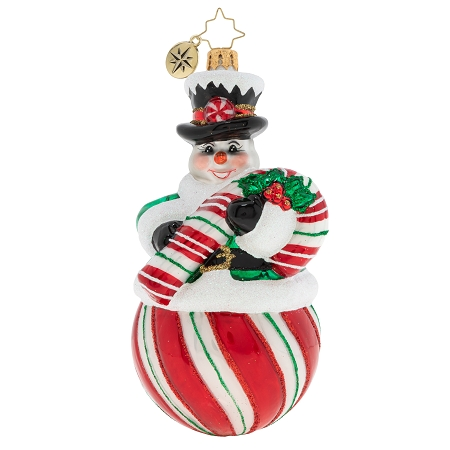 RADKO 1020158 THE CANDY (SNOW) MAN - SNOWMAN ON PEPPERMINT BALL HOLDING CANDY CANE ORNAMENT - NEW 2020 (20-2)