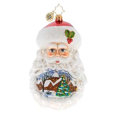 RADKO 1020177 SANTA SETTING THE SCENE - SANTA HEAD WITH PAINTED SCENE IN BEARD ORNAMENT - NEW 2020 (20-2)