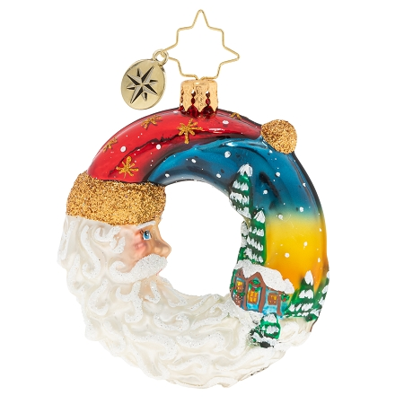 RADKO 1020227 SANTA'S SILENT NIGHT WREATH GEM - CRESCENT SANTA ORNAMENT - NEW 2020 (28-2)