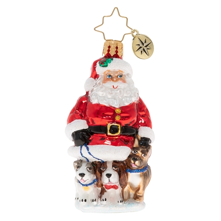 RADKO 1020229 PROMENADING PUPS GEM - SANTA AND 3 DOGS ORNAMENT - NEW 2020 (28-2)