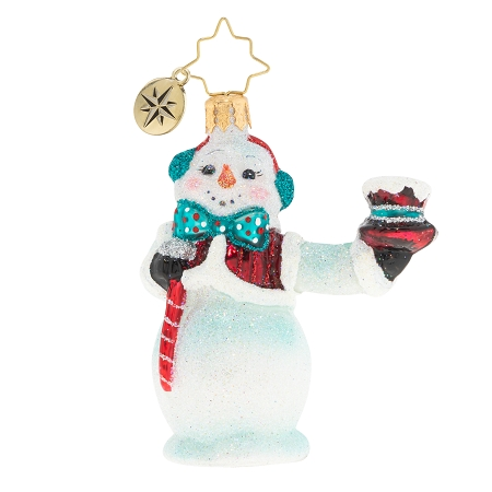 RADKO 1020234 HATS OFF SNOWMAN GEM - SNOWMAN HOLDING TOP HAT ORNAMENT - NEW 2020 (28-2)