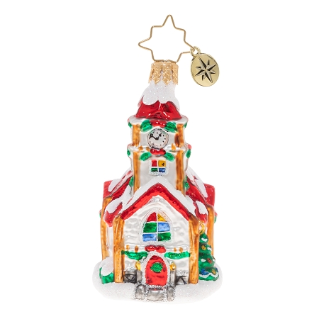 RADKO 1020244 CHRISTMAS CHAPEL GEM - SNOW COVERED RED ROOF CHURCH ORNAMENT - NEW 2020 (28-3)