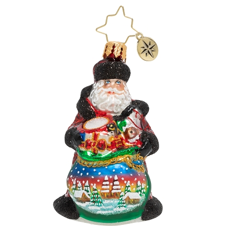 RADKO 1020245 DELIGHTFUL DELIVERY GEM - SANTA WITH BAG OF TOYS WITH PAINTED SCENE ORNAMENT - NEW 2020 (28-3)