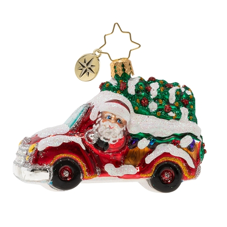 RADKO 1020247 CHRISTMAS TREE DELIVERY GEM - SANTA DRIVING RED PICK UP TRUCK WITH TREE ORNAMENT - NEW 2020 (28-4)