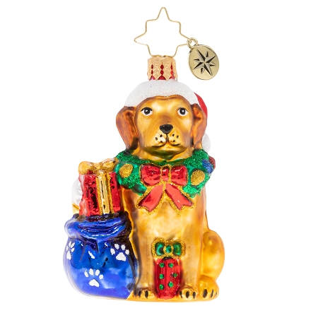 RADKO 1020248 NOBLE YELLOW LAB GEM - YELLOW LAB WITH STOCKING CAP AND BAG OF TOYS ORNAMENT - NEW 2020 (28-4)