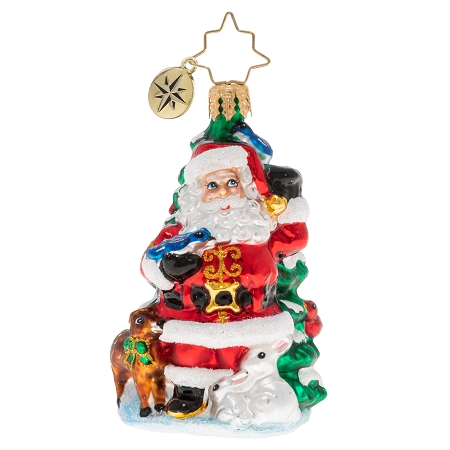 RADKO 1020251 SANTA'S MENAGERIE OF FRIENDS GEM - SANTA AND TREE WITH DEER, CARDINALS AND BLUE JAYS ORNAMENT - NEW 2020 (28-4)