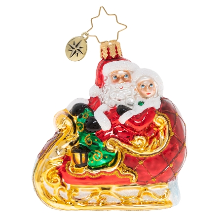 RADKO 1020257 DATE NIGHT GEM - SANTA AND MRS CLAUS IN SLEIGH ORNAMENT - NEW 2020 (28-5)