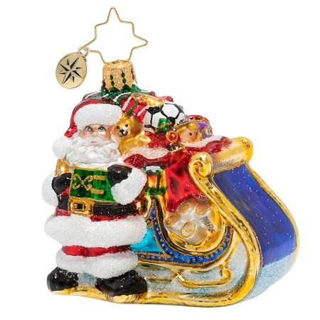 RADKO 1020259 DELIVERY ON ITS WAY GEM - SANTA WITH SLEIGH FULL OF GIFTS AND TOYS ORNAMENT - NEW 2020 (28-6)