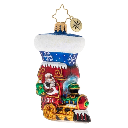 RADKO 1020262 NOEL EXPRESS STOCKING GEM - TRAIN STOCKING ORNAMENT - NEW 2020 (28-6)