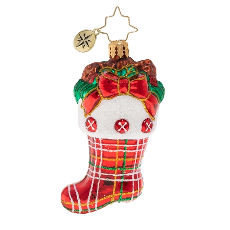 RADKO 1020269 CLASSIC COUNTRY STOCKING GEM - STOCKING WITH RED BOW ORNAMENT - NEW 2020 (28-7)
