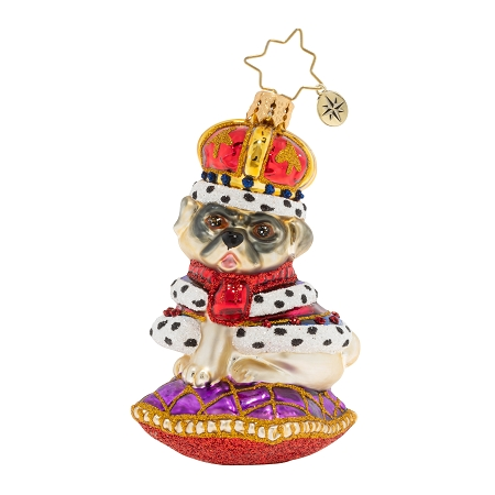 RADKO 1020270 KINGLY MR PUG GEM - DOG - PUG WITH CROWN ON PILLOW ORNAMENT - NEW 2020 (28-7)