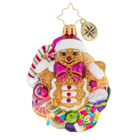 RADKO 1020279 POPPING OUT SURPRISE GEM - GINGERBREAD MAN WITH CANDY ORNAMENT - NEW 2020 (28-7)
