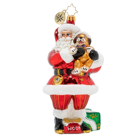 RADKO 1020311  A POSITIVELY PAW-FECT GIFT - SANTA HOLDING A DOG ORNAMENT - NEW 2020 (20-2)