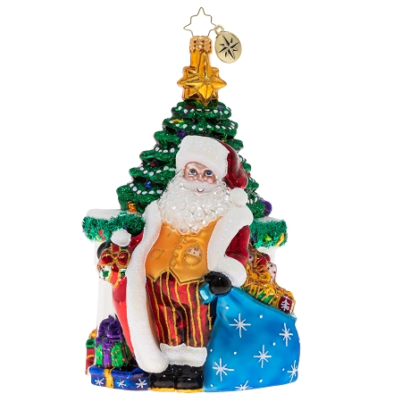 RADKO 1020350 THE BIG DAY'S ARRIVED! - SANTA STANDING IN FRONT OF TREE AND FIREPLACE WITH TURQUOISE BAG OF GIFTS ORNAMENT - NEW 2020 (20-2)