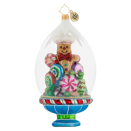 RADKO 1020359 GINGERBREAD ON DISPLAY - GINGERBREAD MAN AND CANDY IN DOME ORNAMENT - NEW 2020 (20-2)