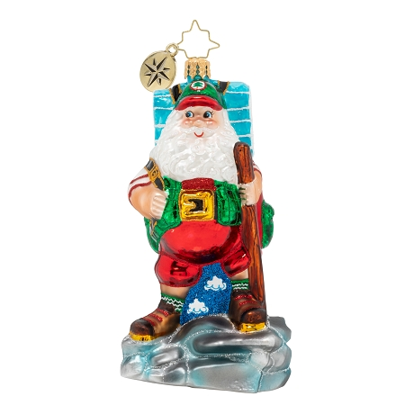 RADKO 1020405 HOLIDAY HIKER - SANTA IN HIKING BOOTS WITH BACKPACK AND STAFF ORNAMENT - NEW 2020 (20-2)