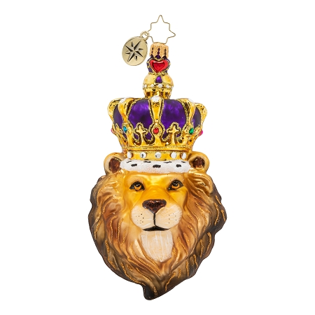 RADKO 1020422 ROARING ROYALTY - LION'S HEAD WEARING PURPLE CROWN ORNAMENT - NEW 2020 (20-3)
