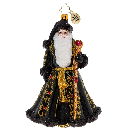 RADKO 1020430 ST. NICK'S GRAND GETUP - ELEGANT SANTA WITH BLACK AND GOLD COAT AND JEWELED STAFF ORNAMENT - NEW 2020 (20-3)