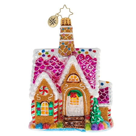 RADKO 1020439 A DELECTABLE DWELLING - GINGERBREAD HOUSE ORNAMENT - NEW 2020 (20-3)