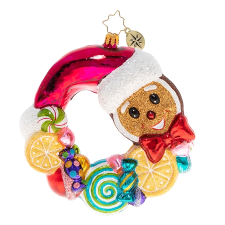 RADKO 1020441 SWIRLING WITH SWEETS WREATH - GINGERBREAD MAN AND CANDY WREATH ORNAMENT - NEW 2020 (20-3)