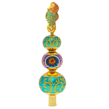 RADKO 1020460 ABOVE IT ALL SEAHORSE FINIAL - SEAHORSE ON 3 BALLS WITH REFLECTOR JEWELED FINIAL - TREE TOPPER - NEW 2020 (F10)