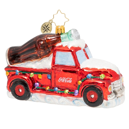 RADKO 1020502 A COCA COLA CELEBRATION - RED COCA-COLA TRUCK WITH LARGE TRADITIONAL COKE BOTTLE IN THE BED ORNAMENT - NEW 2020 (20-3)