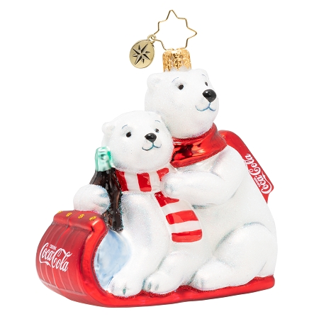 RADKO 1020504 THE PAWS THAT REFRESH - POLAR BEARS ON RED COCA-COLA SLED DRINKING COKE ORNAMENT - NEW 2020 (20-3)