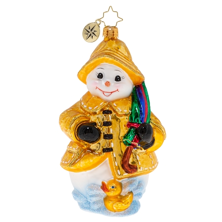 RADKO 1020515 THE RAIN OR SHINE SNOWMAN - SNOWMAN IN YELLOW RAINCOAT AND HAT WITH UMBRELLA AND RUBBER DUCKY ORNAMENT - NEW 2020 (20-3)