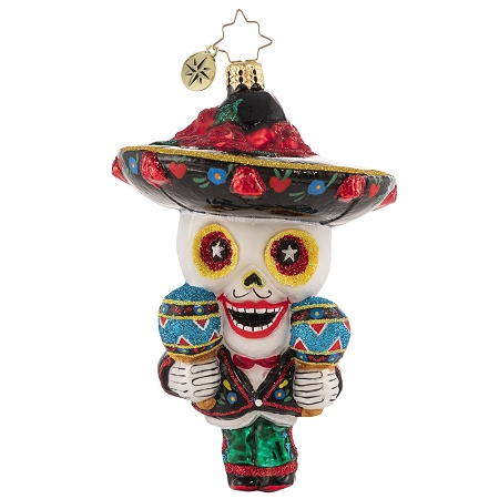 RADKO 1020627 READY TO SALSA! - HALLOWEEN - DAY OF THE DEAD WITH MARACAS AND SOMBRERO ORNAMENT - NEW 2021 (H10)