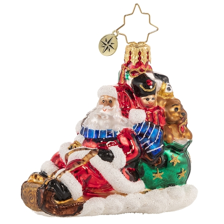 RADKO 1020636 TIMELY TOBOGGAN DELIVERY! GEM - SANTA RIDING TOBOGGAN WITH BAG OF GIFTS AND TOYS ORNAMENT - NEW 2021 (29-2)