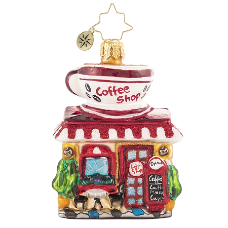 RADKO 1020638 WAKE UP AND SMELL THE COFFEE GEM - COFFEE SHOP - DINER WITH COFFEE CUP ON TOP ORNAMENT - NEW 2021 (29-2)