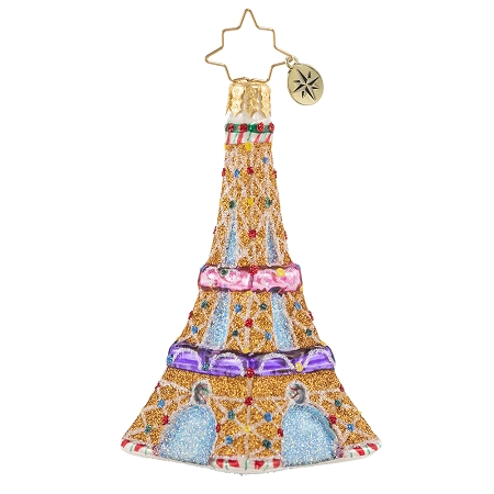 RADKO 1020641 PARIS IS SWEET GEM - EIFFEL TOWER IN GINGERBREAD AND CANDY ORNAMENT - NEW 2021 (29-3)