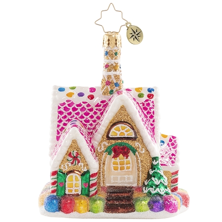 RADKO 1020642 A DELECTABLE DWELLING GEM - GINGERBREAD HOUSE ORNAMENT - NEW 2021 (29-3)