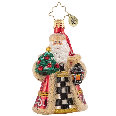 RADKO 1020643 SANTA LIGHTS THE WAY GEM - SANTA WITH LANTERN AND TREE ORNAMENT - NEW 2021 (29-3)