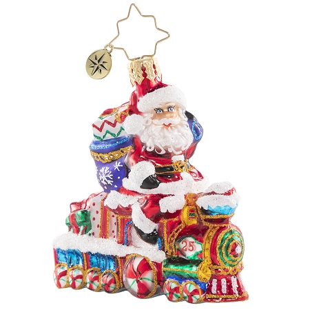 RADKO 1020644 ON THE TRACKS SANTA GEM - SANTA RIDING CANDY TRAIN WITH GIFTS ORNAMENT - NEW 2021 (29-3)