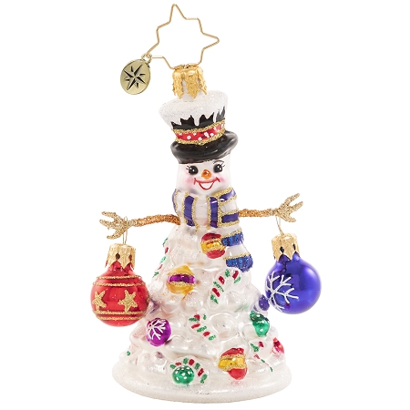 RADKO 1020648 QUITE A LIVELY TREE GEM - SNOWMAN WITH STICK ARMS HOLDING ORNAMENTS ORNAMENT - NEW 2021 (29-4)