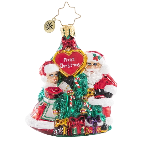 RADKO 1020650 THE FIRST OF MANY CHRISTMASES GEM - FIRST CHRISTMAS - SANTA AND MRS CLAUS IN FRONT OF TREE ORNAMENT - NEW 2021 (29-4)