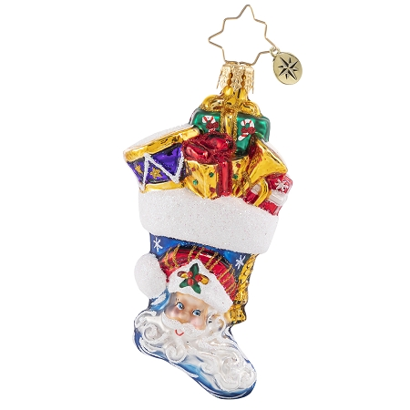 RADKO 1020655 PRESENTS A'PLENTY GEM - STOCKING FULL OF GIFTS AND TOYS WITH SANTA AND PAINTED SCENE ORNAMENT - NEW 2021 (29-5)