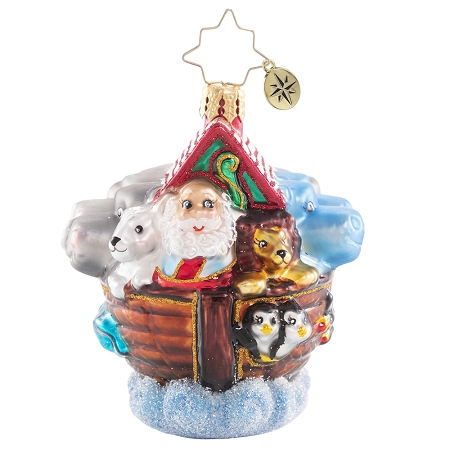 RADKO 1020656 BOARDING TWO BY TWO GEM - NOAH'S ARK WITH SANTA AND ANIMALS ORNAMENT - NEW 2021 (29-5)