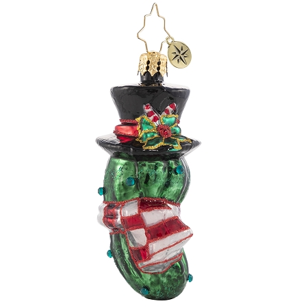 RADKO 1020657 THE CHRISTMAS PICKLE GEM - JEWELED PICKLE WITH TOP HAT AND SCARF ORNAMENT - NEW 2021 (29-5)