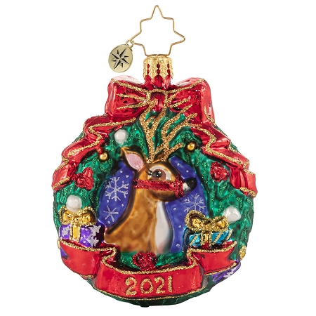 RADKO 1020659 OH DEER, WHAT A YEAR! GEM - DATED 2021 - DEER IN WREATH ORNAMENT - NEW 2021 (29-6)
