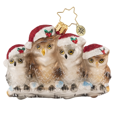 RADKO 1020663 IT'S OWL IN THE FAMILY GEM - 4 OWLS IN STOCKING HATS ORNAMENT - NEW 2021 (29-6)