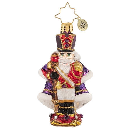 RADKO 1020668 A STOIC SOLDIER GEM - JEWELED NUTCRACKER WITH STAFF & PURPLE COAT ORNAMENT - NEW 2021 (29-7)